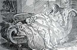 """Elizabeth Browning on her sofa with Flush, her cocker spaniel, reading a letter from Robert Browning. The illustration by Edwina is from """"Flush of Wimpole Street and Broadway"""" by Flora Merrill, published in 1933."""