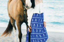 Model Rebekah Pizana, wearing SigAshop maxi skirt and with polo pony Nutella in Juno Beach, Florida. Photo courtesy of Angie Myers, hair and makeup by Bridgette Leah.
