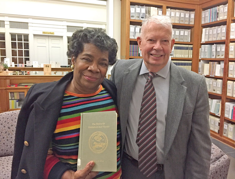 Judith James with Eugene Scheel at the Thomas Balch Library in Leesburg, Virginia.