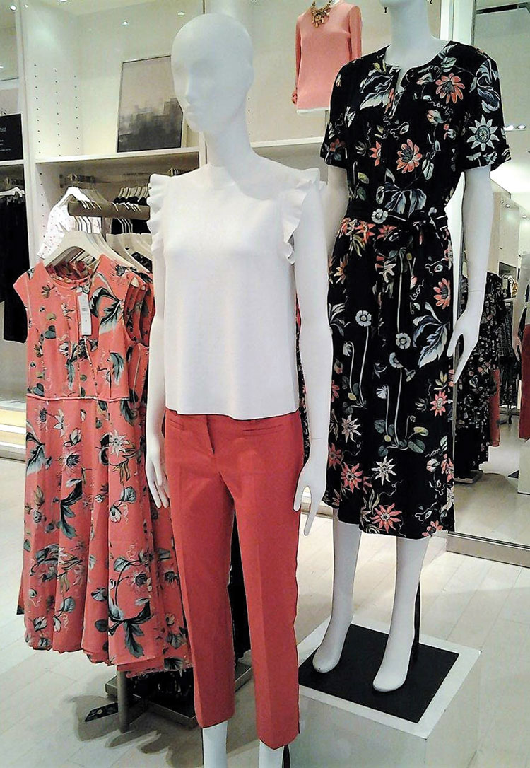 Ann Taylor Coral Oasis Dress (left) and Wild Flower Culotte Jumpsuit in navy (right). Photo credit Summer Stanley