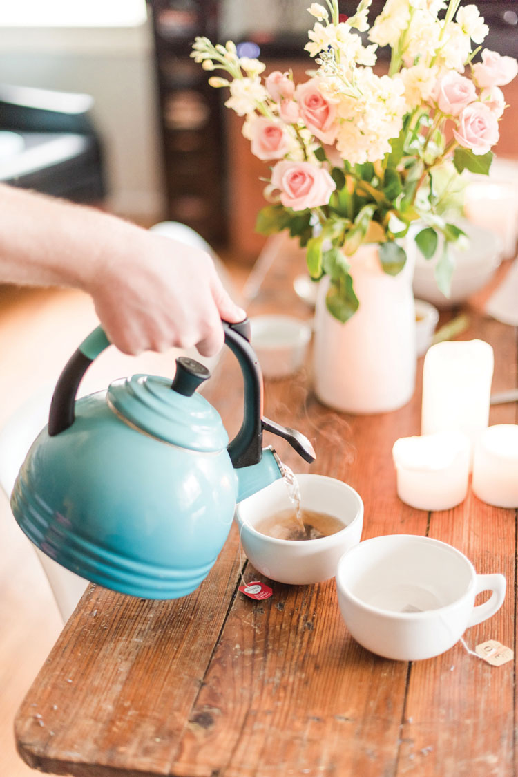 Tea provides warmth for chilly spring mornings.