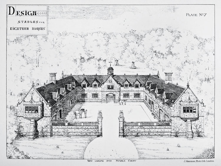 A Stable for Eighteen Horses from Examples of Stables, Hunting Boxes, Kennels, Racing Establishments, Etc. by John Birch, 1892.