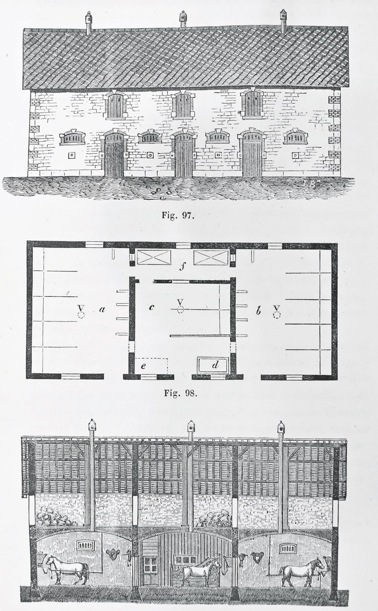 "A rustic French stable from ""Traité des Constructions Rurales et de Leur Disposition"" by Louis Bouchard Hazard, 1859."