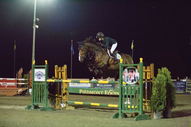 Twilight Jumpers regular Felicia Russell on her horse Habsburg 2 in the Mini Prix.