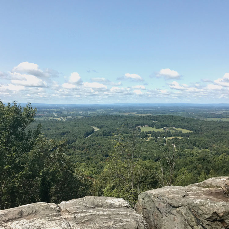 Bears Den offers rocks for sunbathing and a beautiful view west to Winchester.