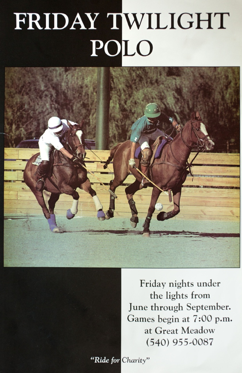 The first ever poster for Twilight Polo, featuring an image from the first game ever played at Great Meadow, in which Peter Arundel (left) reaches to hook Phillip Lake, a Canadian professional player. Photo by Callie Broaddus.