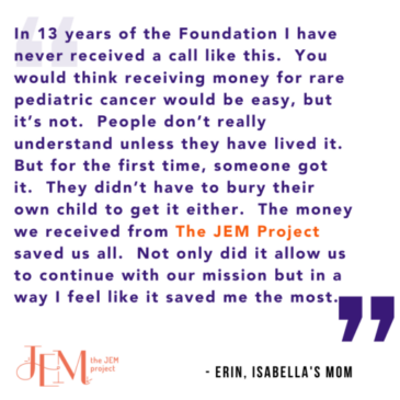 Isabella Santos Foundation Receives Gift from The JEM Project