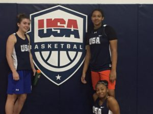 Mayerhofer(r.) with teammates and Mega freshman star Kayla Richardson(L.) at USA BASKETBALL CLINIC