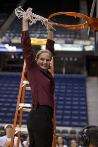 RICHMOND, VA - MARCH 9: Head coach Stephanie Gaitley of the Fordham Rams cuts the net off the rim after beating the Dayton Flyers in the championship game of the womens Atlantic 10 tournament on March 9, 2014 at the Richmond Coliseum in Richmond, Virginia. (Photo by Mitchell Leff/Getty Images)