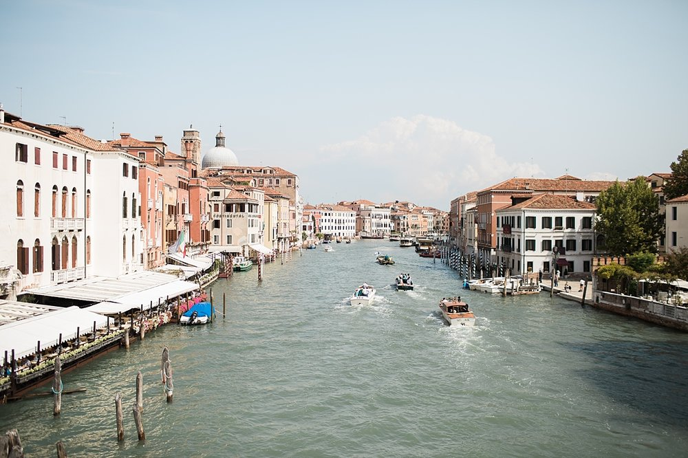 Picture of the Grand Canal, which is a water channel in Venice, Italy. It forms one of the major water-traffic corridors in the city.