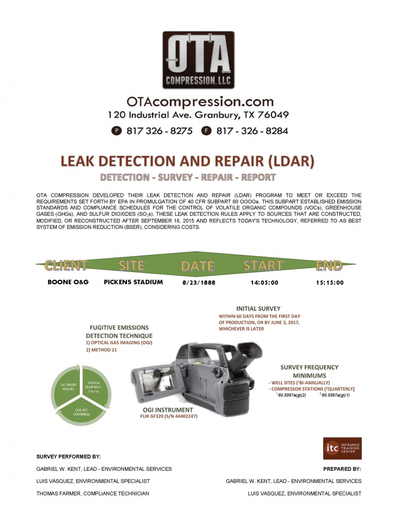 Cover page of OTA's LDAR report