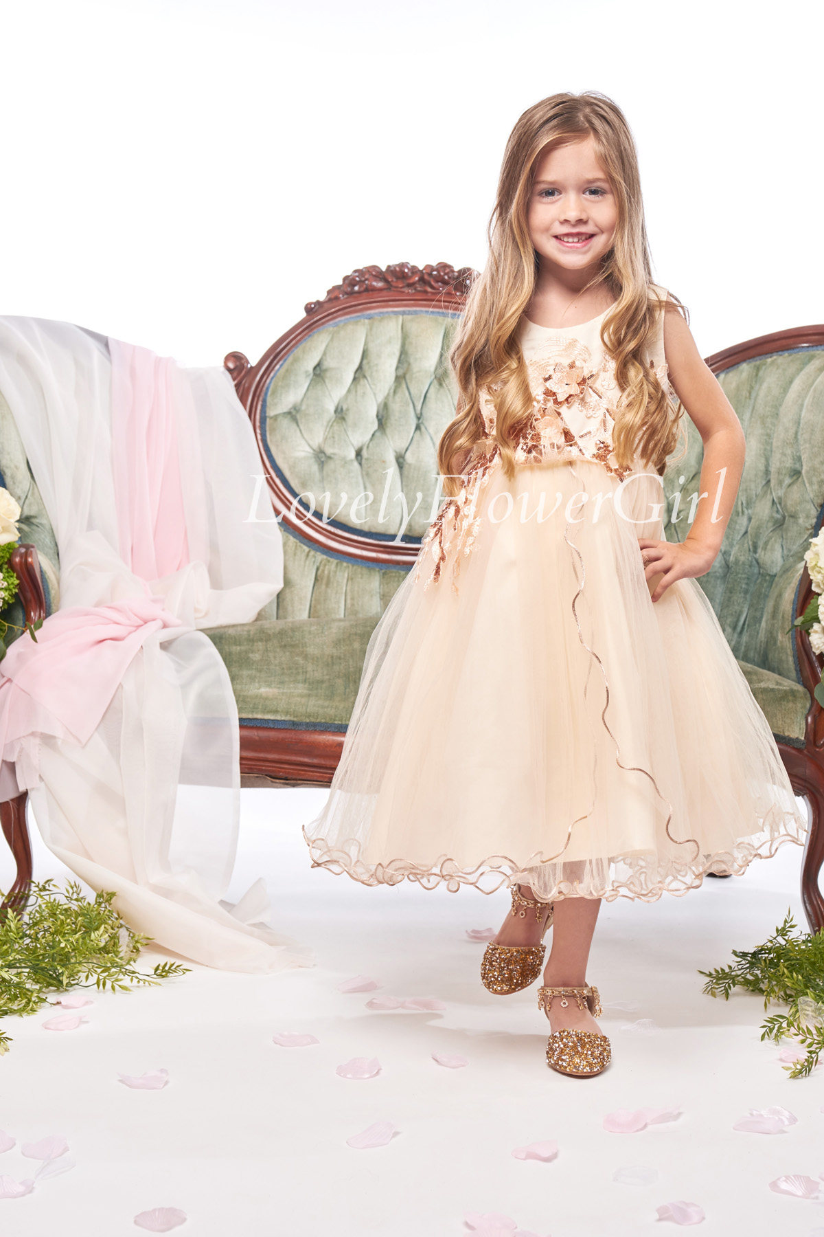 Beige Flower Girl Dress