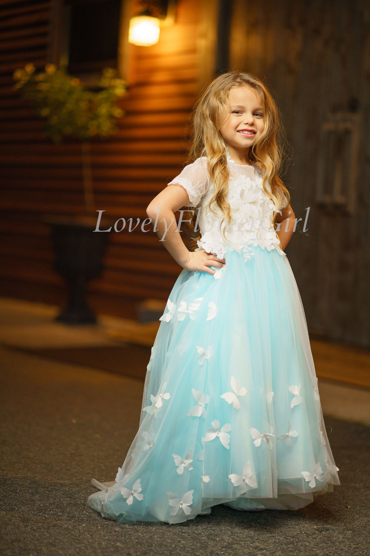 Short Sleeve Floor-length Flower Girl Dress Blue-Butterfly