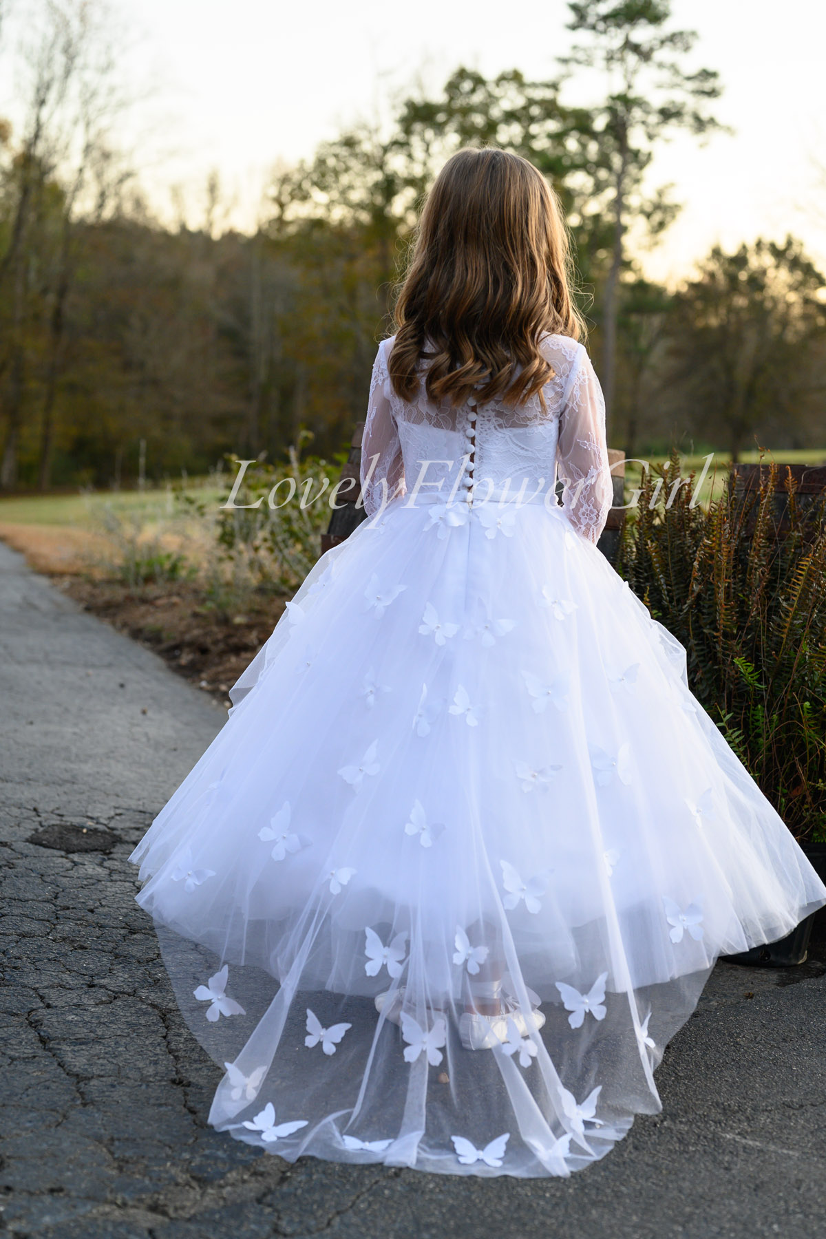 Long Sleeve Floor-length Flower Girl Dress Pink-Butterfly