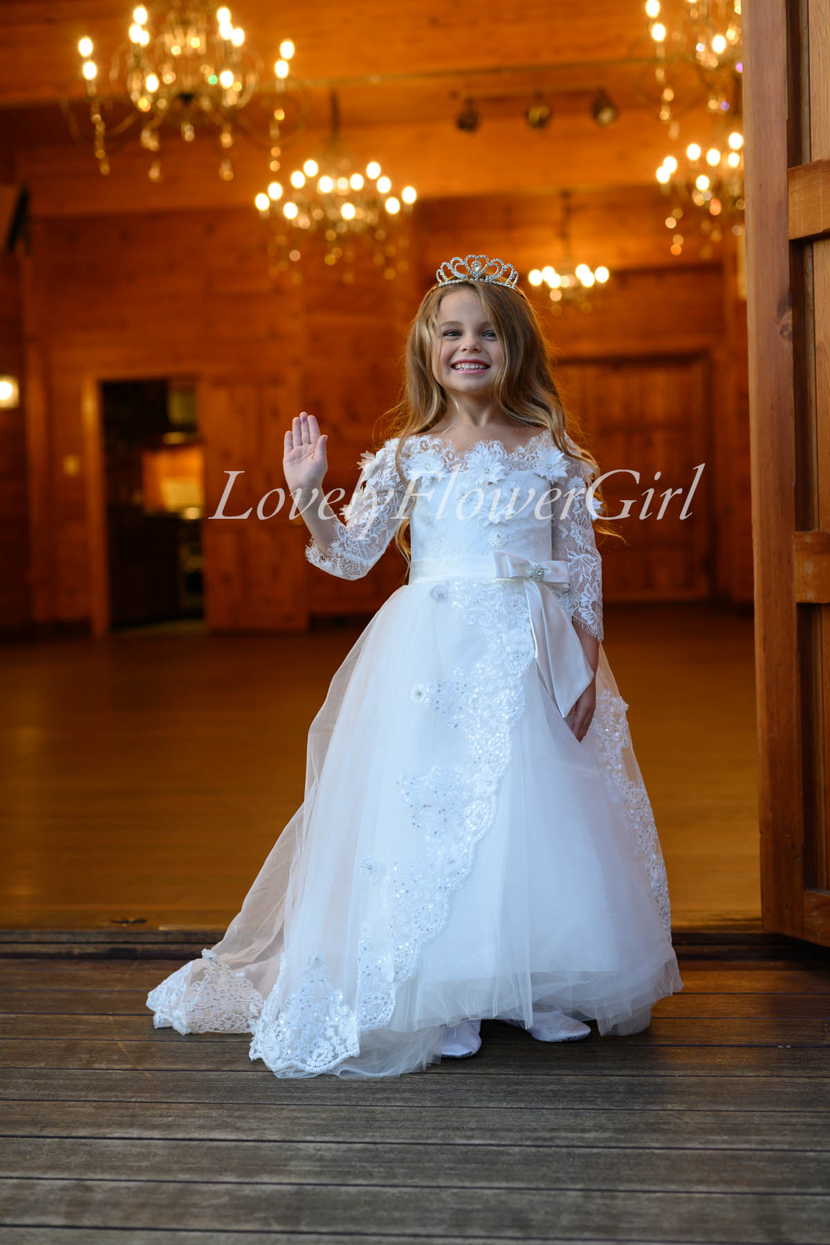 White Lace Short Sleeve Flower Girl Dress