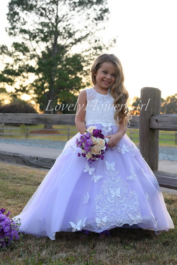 Sleeveless Flower Girl Dress White Lace