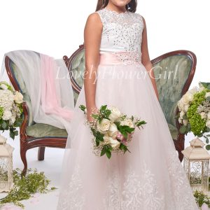 Pink Ribbon Flower Girl Dress