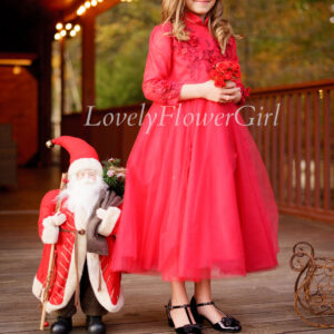 Red Embroidered Tulle Flower Girl Dress