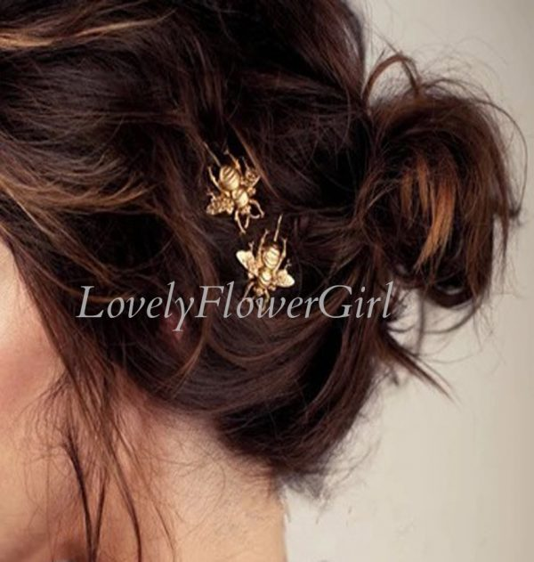 Gold Bee Metal Hair Pin