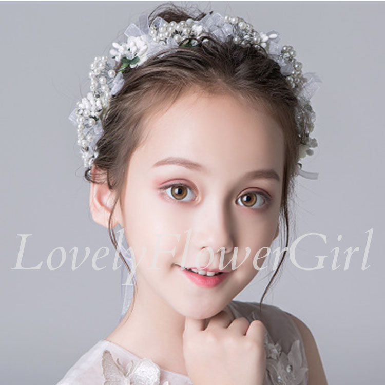 White Flower Girl Headband