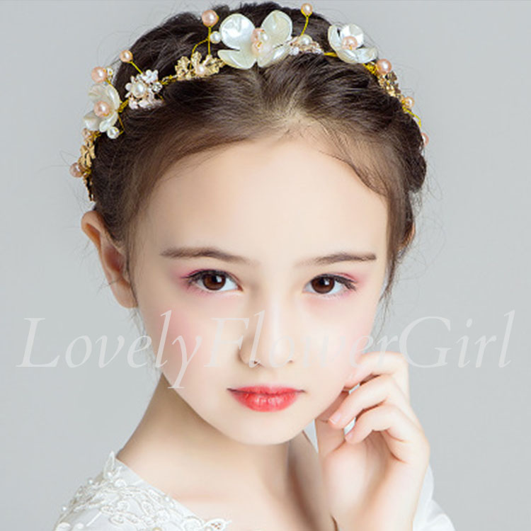 Gold Flower Girl Headband