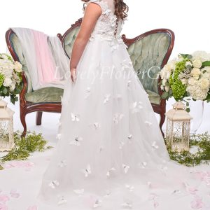 White Lace Butterfly Flower Girl Dress