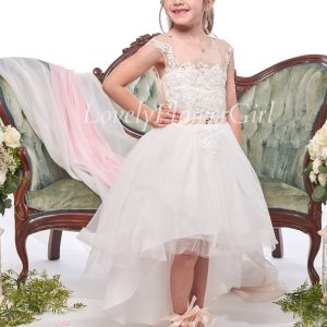 White Short Lace Embroidered Tulle Flower Girl Dress