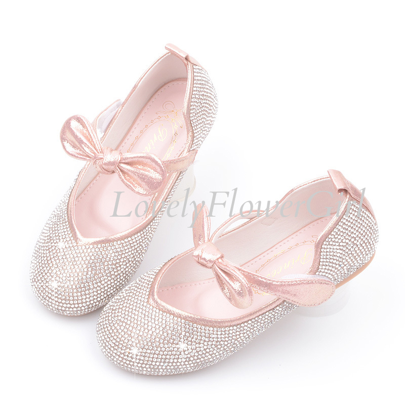 Flower Girls Closed Toe Short Heel Bow Shoes