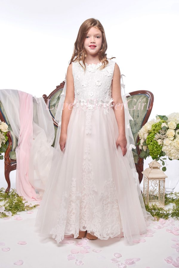 Embroidered Pink Flower Girl Dress