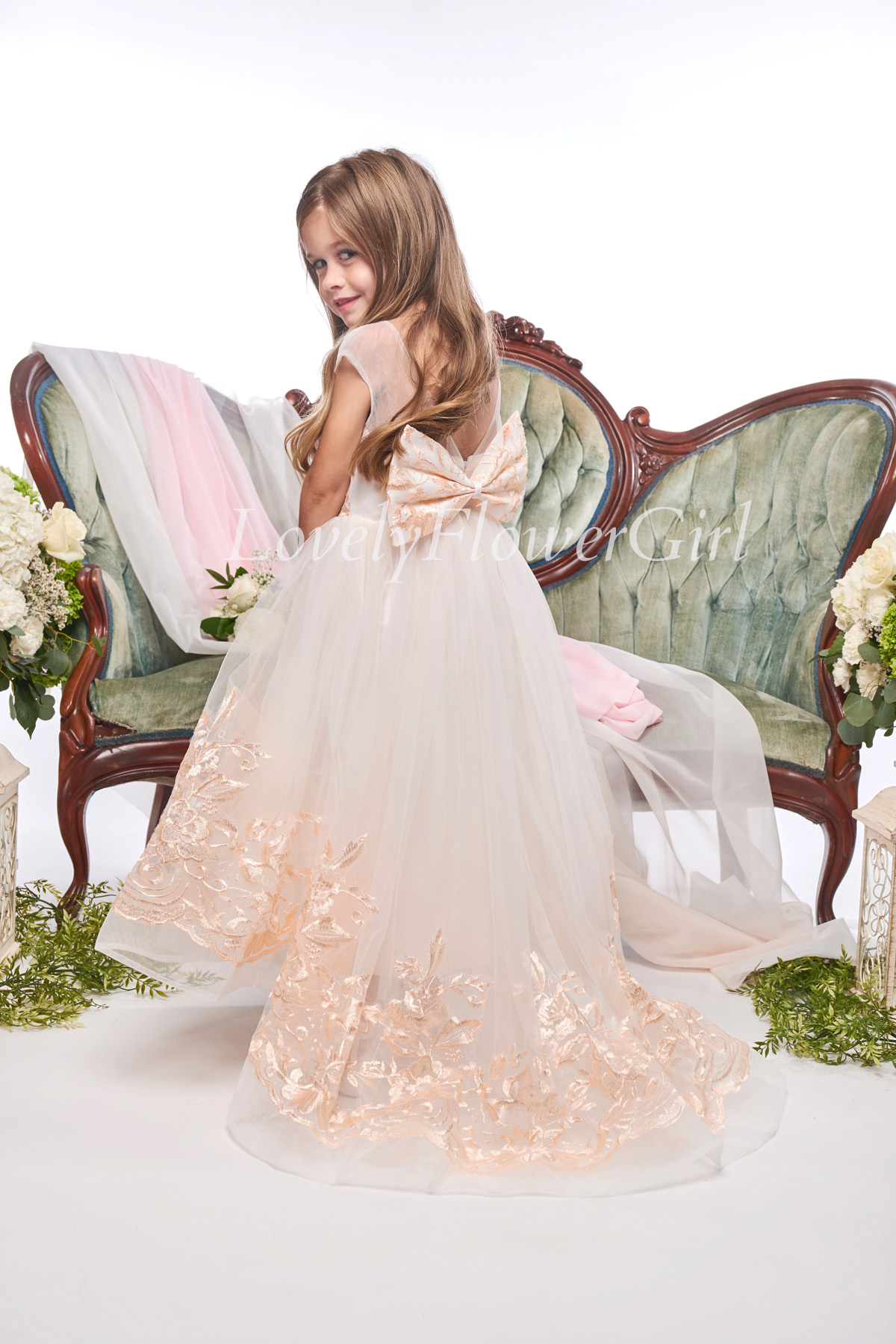 Embroidered Beige With Bow Flower Girl Dress