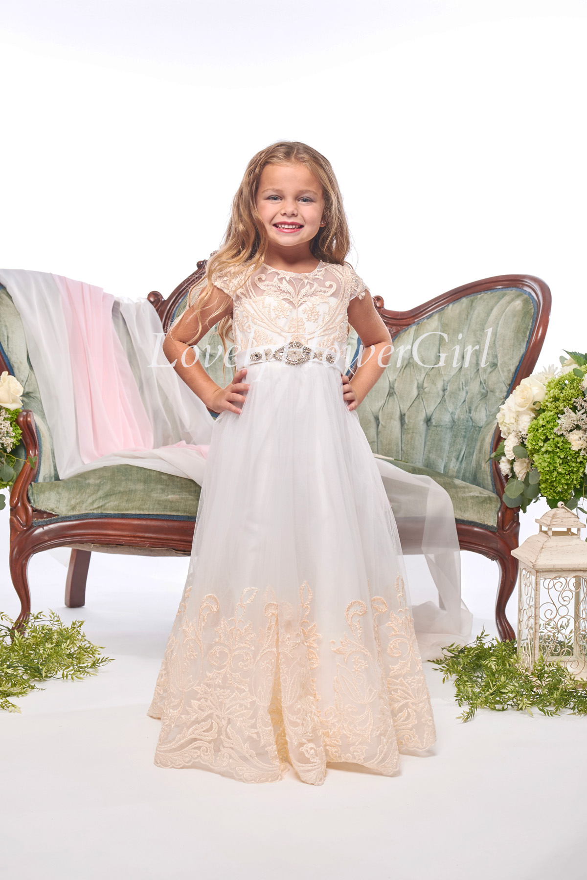 Embroidered Beige Flower Girl Dress