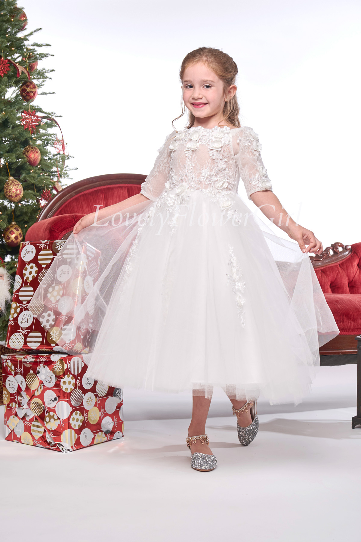 Embroidered Flower Tulle Flower Girl Dress