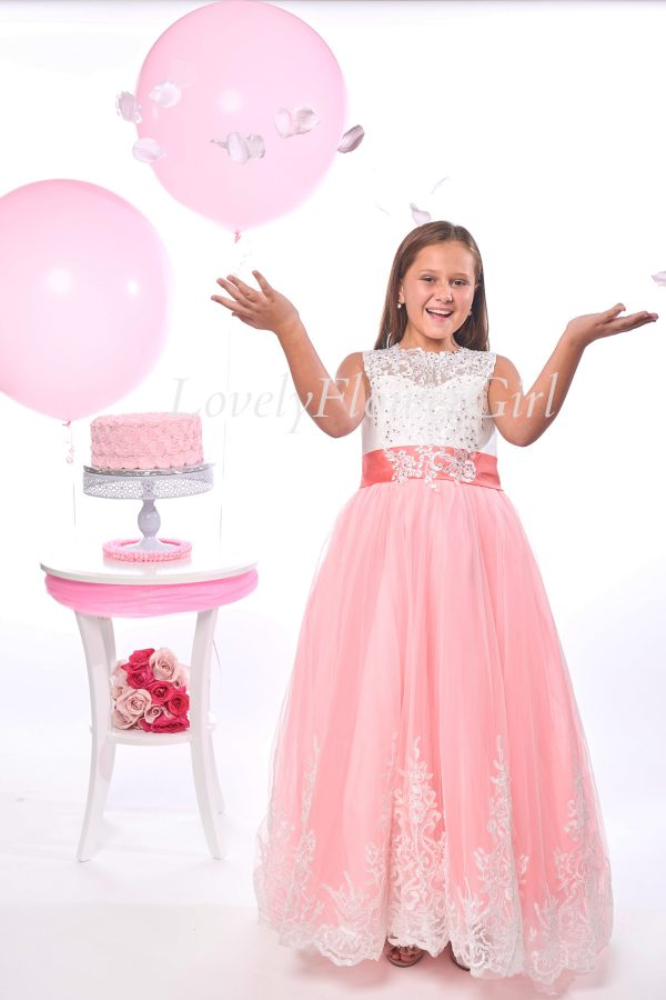 Hot Pink Ribbon Flower Girl Dress