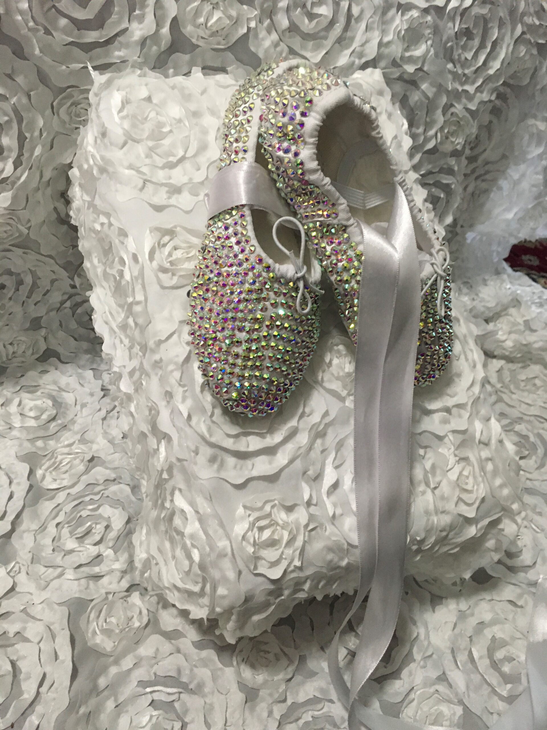 Ballerina-with-rhinestones-shoes-white with Tie-2