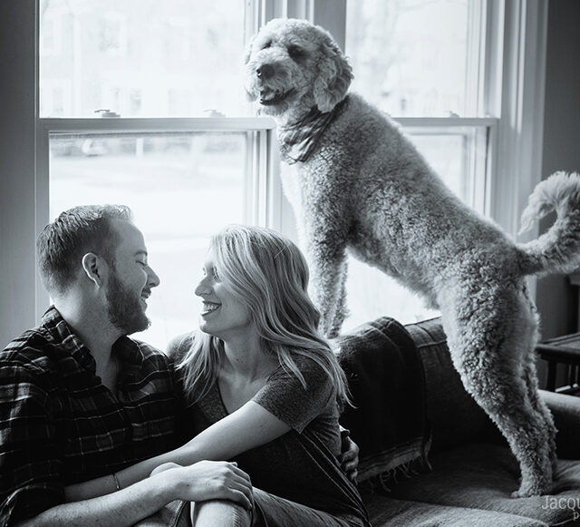 Meg and Nate – A Puppy-Filled, At-Home Engagement Session, Buffalo NY