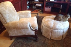 residential chair and ottoman upholstered by hughey hartman