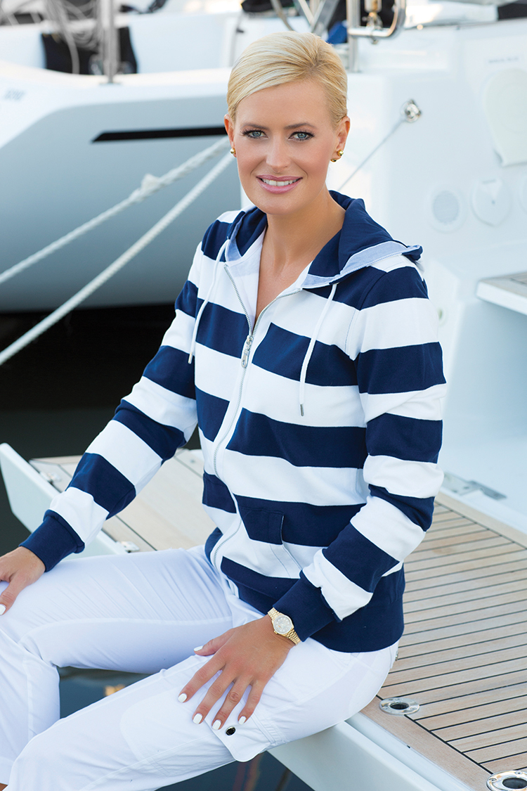 Togs' zip-front hooded jacket is presented in broad navy and white stripes making a perfect companion for any seafaring adventure.