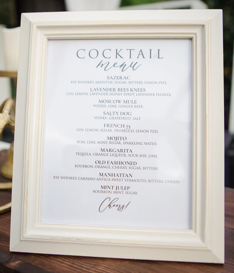 Premium Mixology Menu