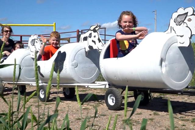 Barrel Train Ride at Country Roads Family Fun Farm - Stotts City, MO