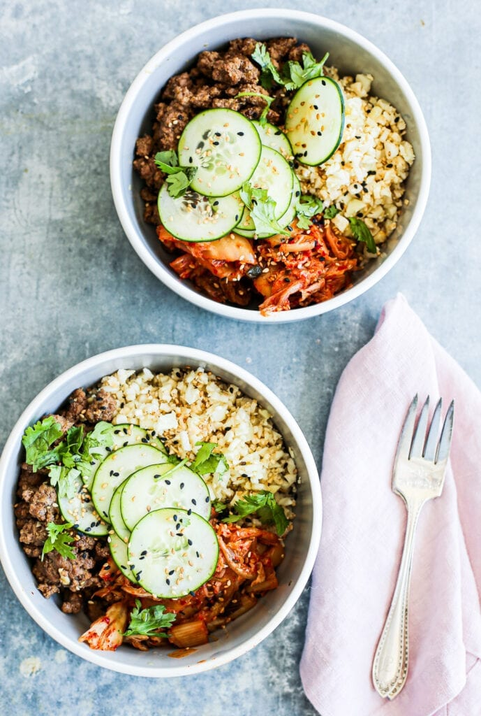 ground beef and kimchi bowl