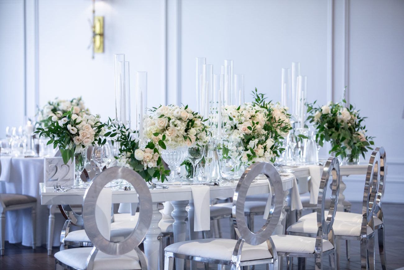 Silver and glass table setting