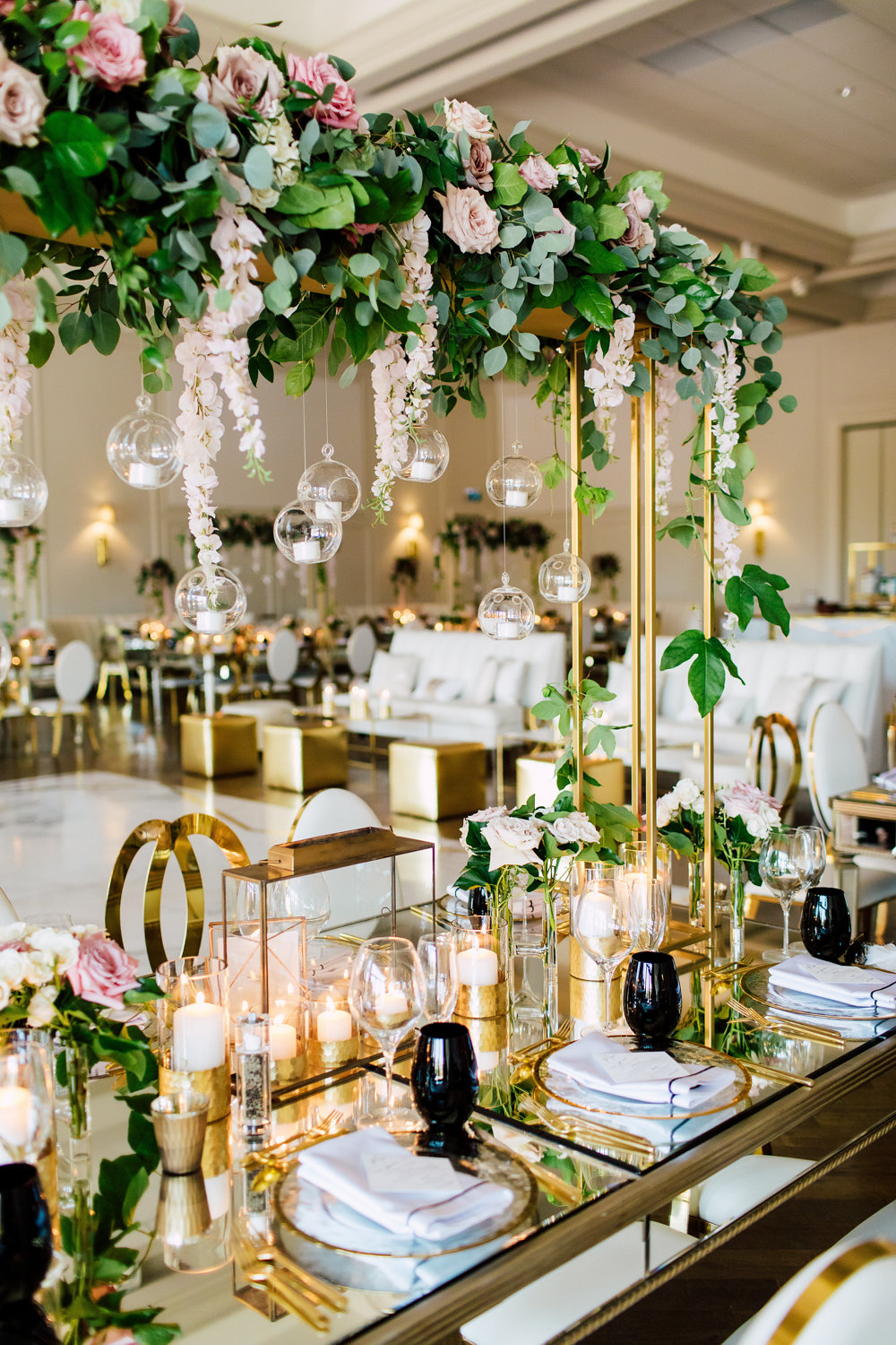 Arlington pink and gold wedding decor