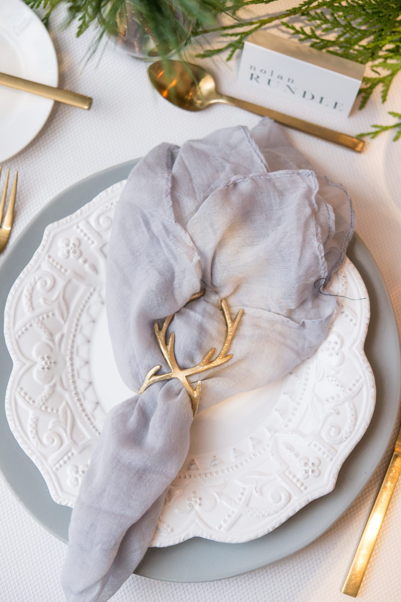 antler napkin ring for holiday table setting