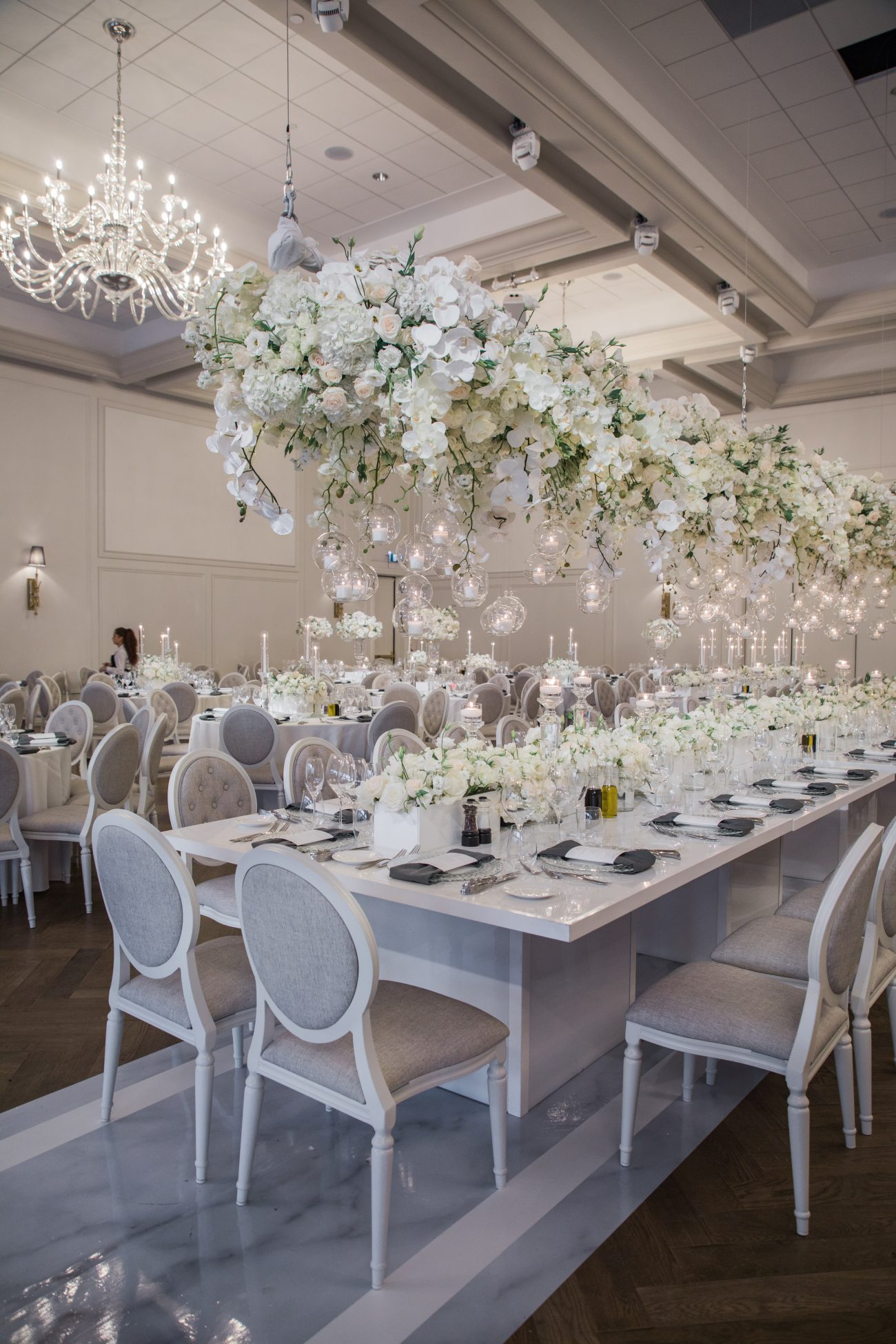 hanging orchids and elegant wedding decor