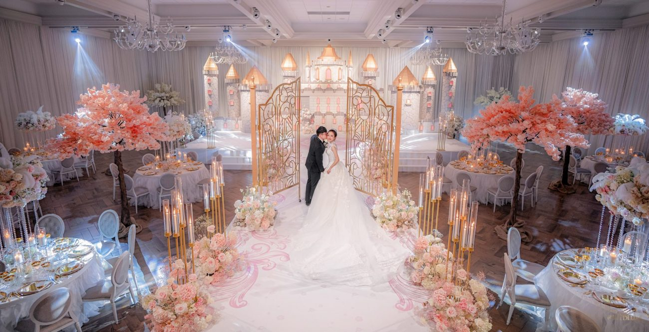 Cherry blossom fairytale castle wedding decor