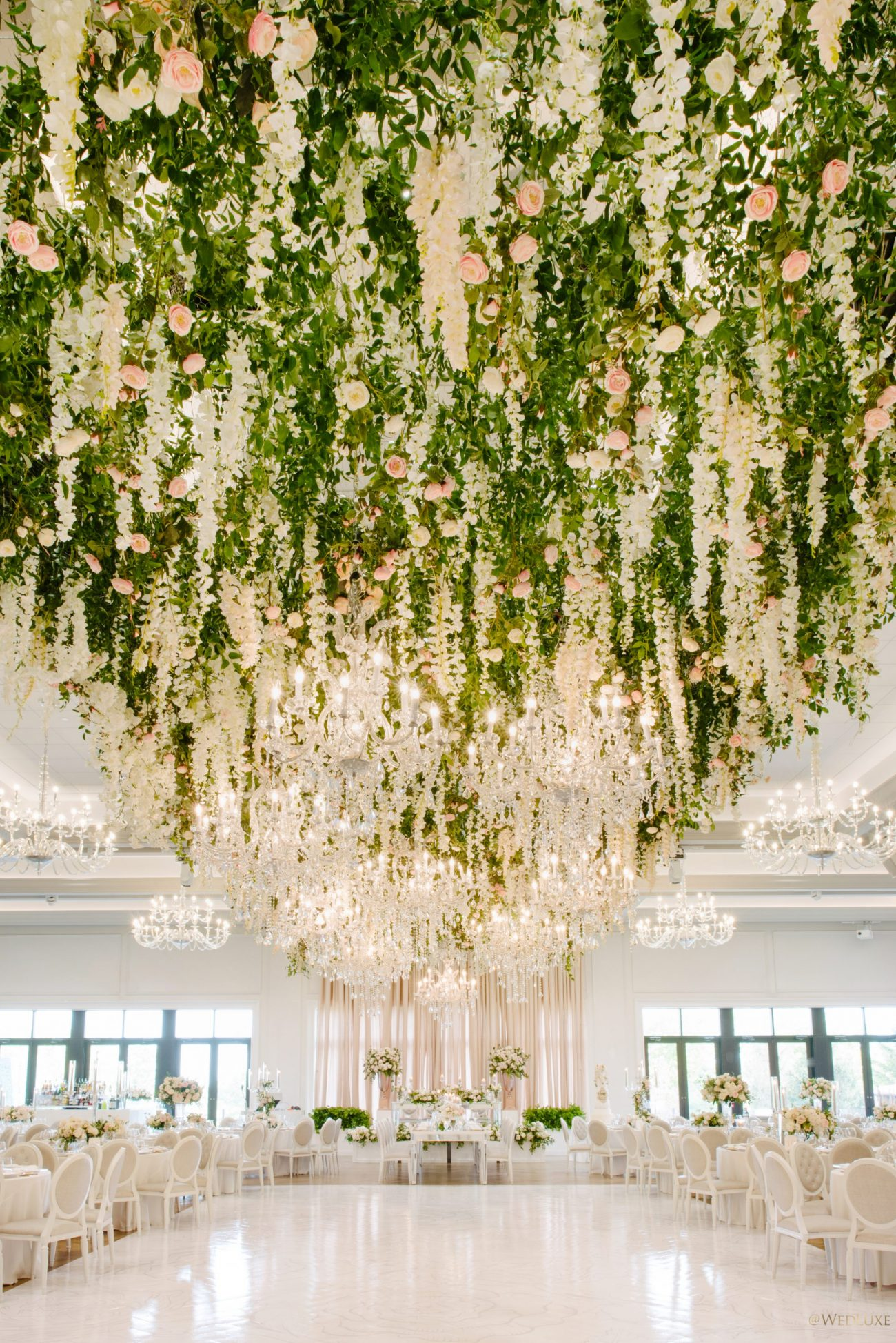 Pink roses, wisteria and vines hanging from the ceiling