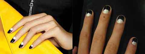 Left: Black and white nails from InStyle; Right: DIY design