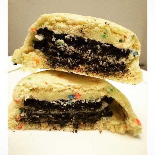 Oreo stuffed cake batter/funfetti cookies