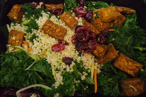 Veestro's Kale & Quinoa salad with tempeh bits and tahini dressing