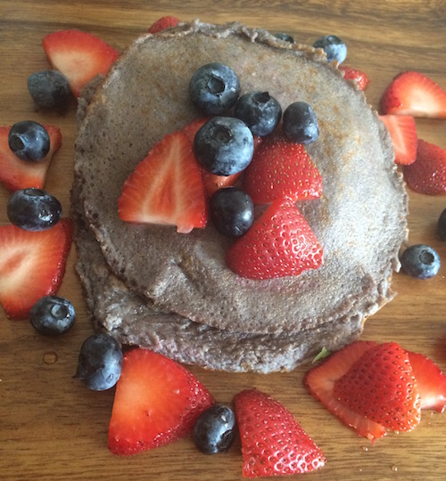Blueberry batter pancakes